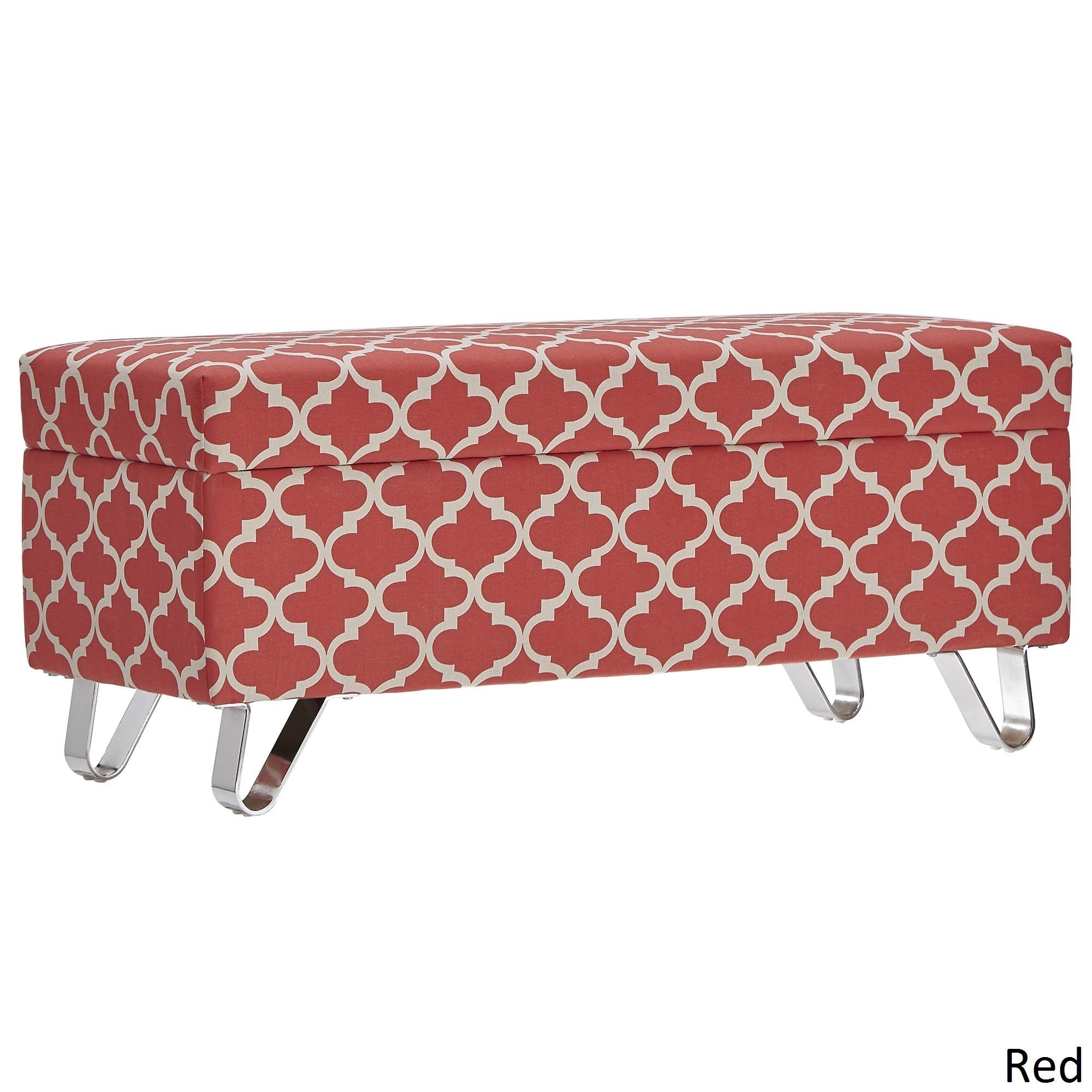Tangier Moroccan Print Fabric Lift Top Storage Bench With Metal Legs By  INSPIRE Q Bold