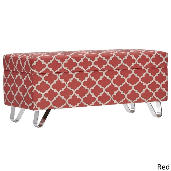 Tangier Moroccan Print Fabric Lift Top Storage Bench with Metal Legs ...