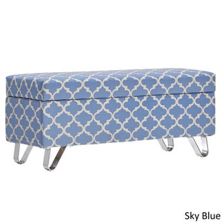 Tangier Moroccan Print Fabric Lift Top Storage Bench with Metal Legs by iNSPIRE Q Bold (3 options available)