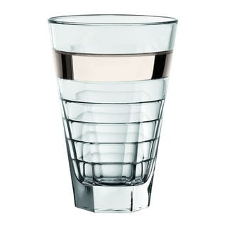 Majestic Gifts Clear Glass Highball Tumbler with Platinum Band