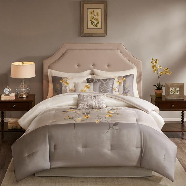 Madison Park Antonia Grey/ Yellow 7 Piece Comforter Set