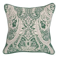Vernon 18-inch Green and Cream Cotton Slub 18-inch Feather and Down Filled Pillow