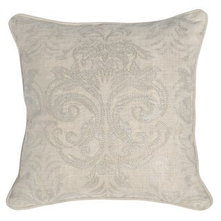 Patrick 18-inch Pearl Oatmeal Linen Feather and Down Filled Pillow
