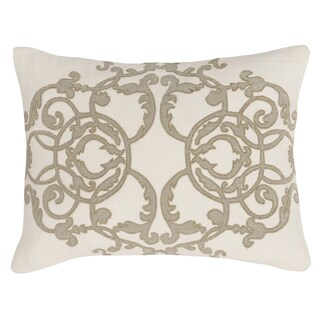 Kosas Home Alexandria Ivory and Champagne Cotton Slub Feather and Down Filled Pillow