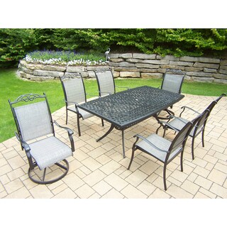 Sling 7 Pc Dining Set with Boat Table, 2 Swivel Rockers and 4 Chairs