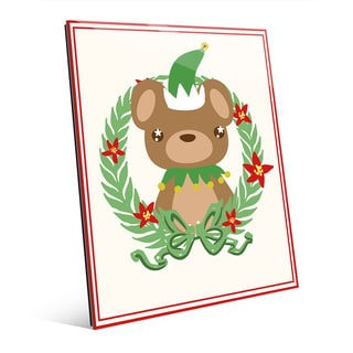 Elf Bear with Poinsetta Wreath Acrylic Wall Art