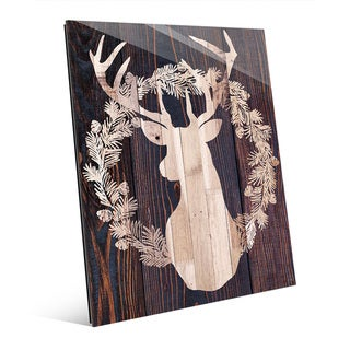 Light Wood Reindeer with Wreath Acrylic Wall Art
