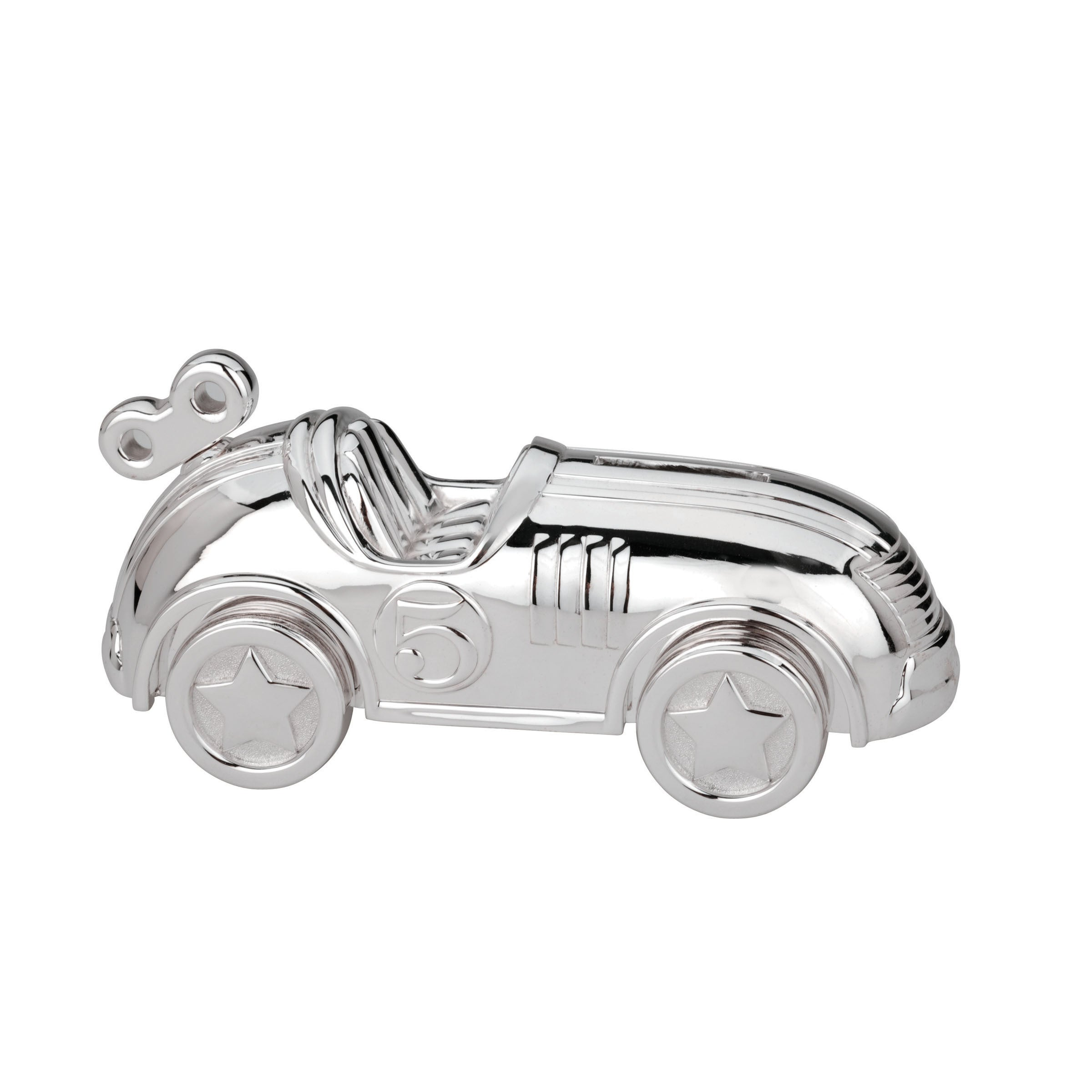 Reed & Barton Silvertone Metal Race Car Bank (Car), Silver