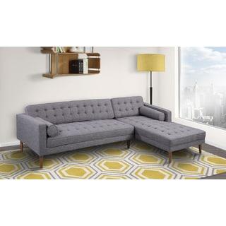 Armen Living Element Tufted Dark Grey Linen Sectional Sofa with Walnut Legs