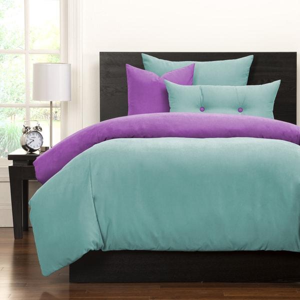 Crayola Robin's Egg Blue and Vivid Violet Reversible 6-piece Duvet Set