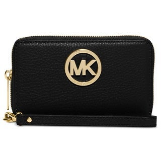 Michael Kors Leather Large Black Flat Multi-Function Phone Case