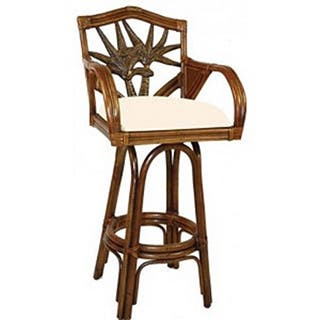 Cancun Palm Indoor Swivel Rattan and Wicker 30-inch Bar Stool with cushions as shown