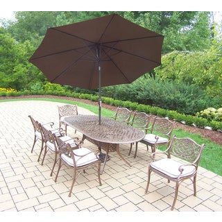 Dakota Antique Bronze Shaded Stackable 11-piece Patio Dining Set