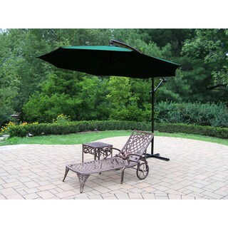 Dakota Cast Aluminum Lounge Set with 1 Wheeled Chaise Lounge, Square Side Table and Green Cantilever Umbrella