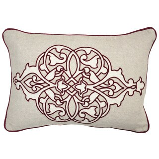 Kosas Home Leanne Natural and Burgundy Pillow