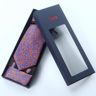 Brio 3 Piece Floral Royal Blue/Orange Tie, Hanky and Cufflink Set