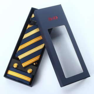 Brio 3 Piece Striped Navy/Yellow Tie, Hanky and Cufflink Set