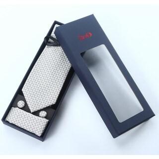 Brio 3 Piece Patterened Grey/White Tie, Hanky and Cufflink Set