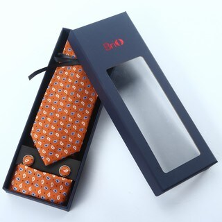 Brio 3 Piece Paisley Burnt Orange Tie, Hanky and Cufflink Set