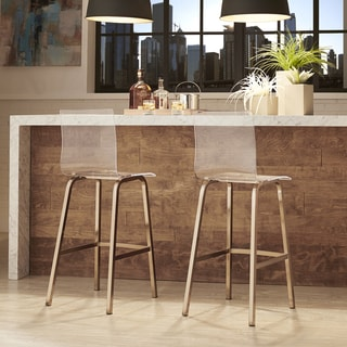 Miles Clear Acrylic Swivel Bar Stools with Back by INSPIRE Q (Set of 2) (As Is Item)