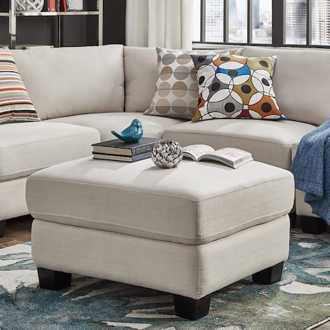 Elize Modern Linen Fabric Ottoman by iNSPIRE Q Bold