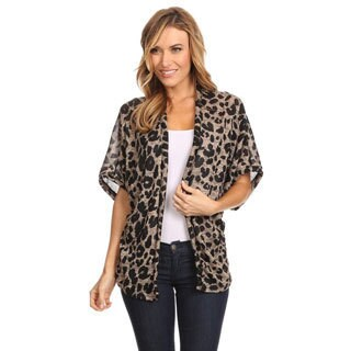 Women's Animal Print Polyester and Spandex Cardigan