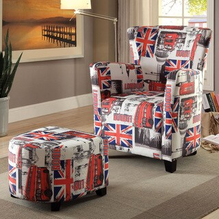 Furniture of America Crowns Contemporary 2-piece Flag Print Chair and Ottoman Set