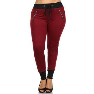 Women's Color Block Cotton Plus-size Zipper Pants