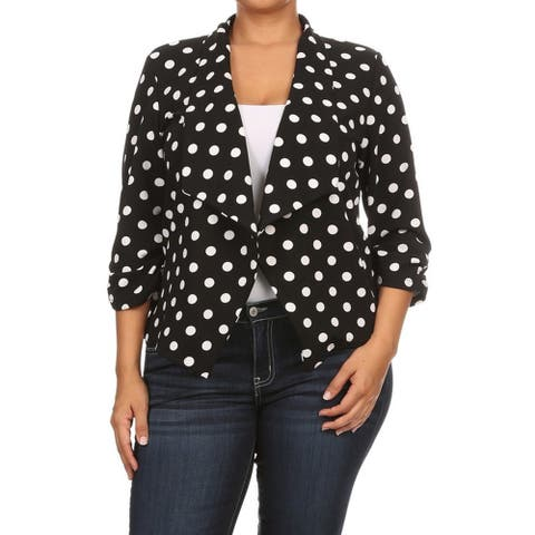 Women's Black Polyester and Spandex Plus Size Polka Dot Blazer-style Jacket