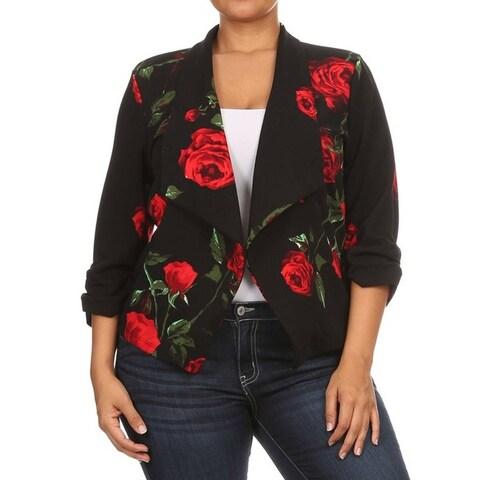 Women's Plus Size Floral Roses Blazer Style Jacket