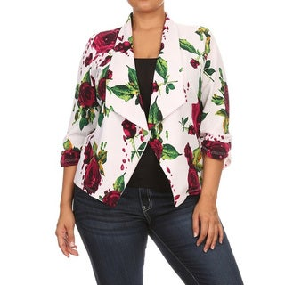 Women's Plus Size Floral Roses Blazer Style Jacket (More options available)