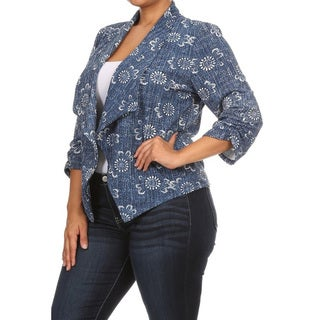 Women's Blue Denim Plus Size Blazer Jacket
