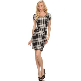 Women's Black Plaid Polyester and Spandex Bodycon Dress