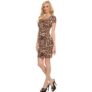 Women's Brown Polyester and Spandex Cheetah Print Bodycon Dress