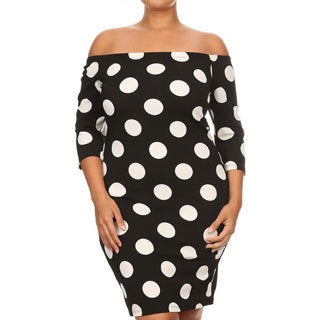 Women's Polyester and Spandex Plus Size Polka Dot Bodycon Dress