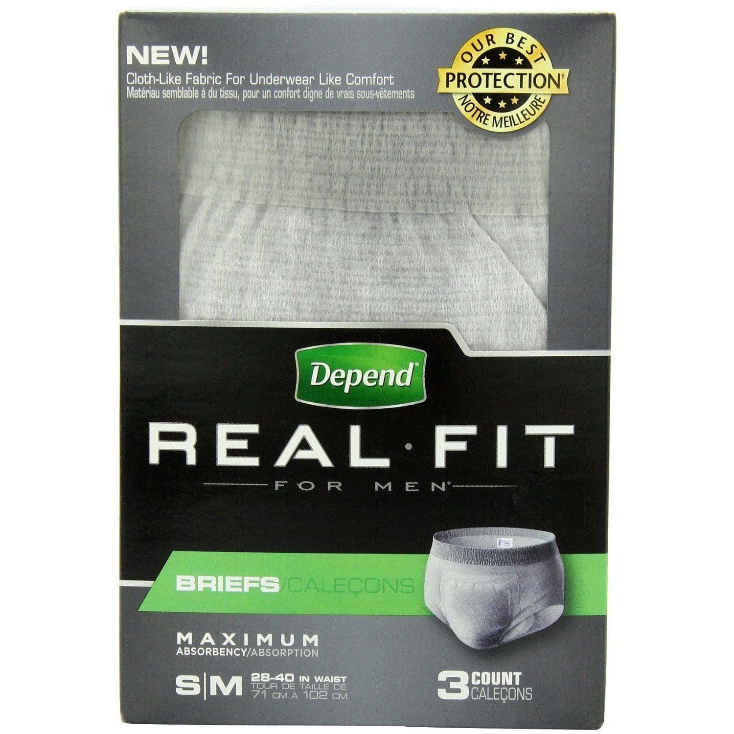 Depend Real Fit for Men Small/Medium Briefs (Pack of 3) (...