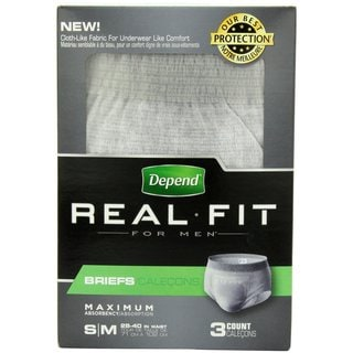 Depend Real Fit for Men Small/Medium Briefs (Pack of 3)