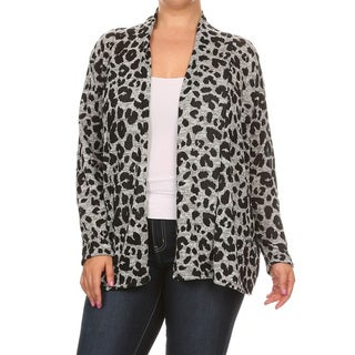 Women's Polyester and Spandex Plus Size Cheetah Print Cardigan