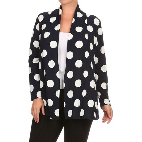 Women's Plus Size Polka Dot Cardigan
