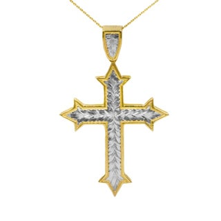 10K Gold Two-tone Fancy Cross Pendant