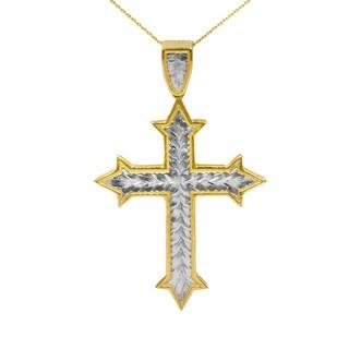 10K Gold Two-tone Fancy Cross Pendant