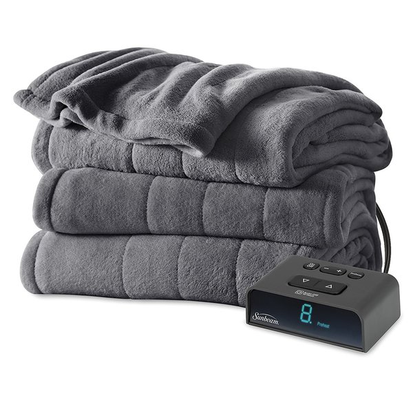 Sunbeam Channeled Plush Heated Blanket