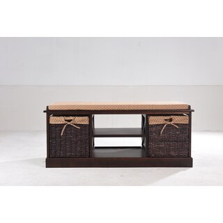 Greenville Cherry-finish Solid Wood and MDF Entryway Storage Bench
