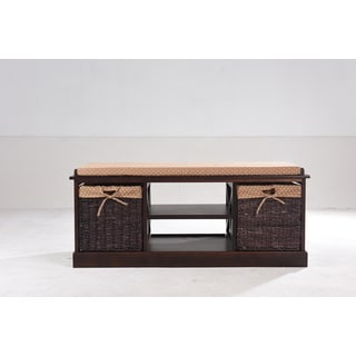 Greenville Cherry Finish Solid Wood And MDF Entryway Storage Bench