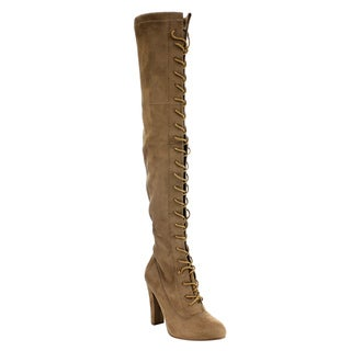 Forever Women's IC17 Taupe Faux-suede Lace-up Wrapped-heel Over-the-knee Boots