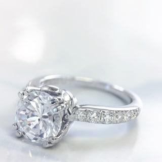 Lihara and Co. 18K White Gold 0.34ct TDW Semi-Mount Diamond Engagement Ring (G-H, VS1-VS2)