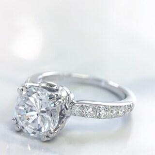Lihara and Co. 18K White Gold 0.34ct TDW Semi-Mount Diamond Engagement Ring