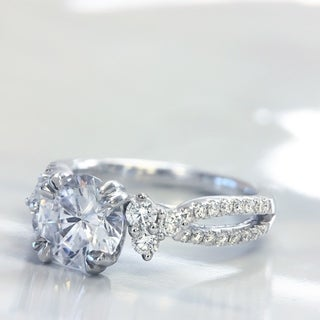 Lihara and Co. 18K White Gold 1/2ct TDW Semi-Mount Diamond Engagement Ring (G-H, VS1-VS2)