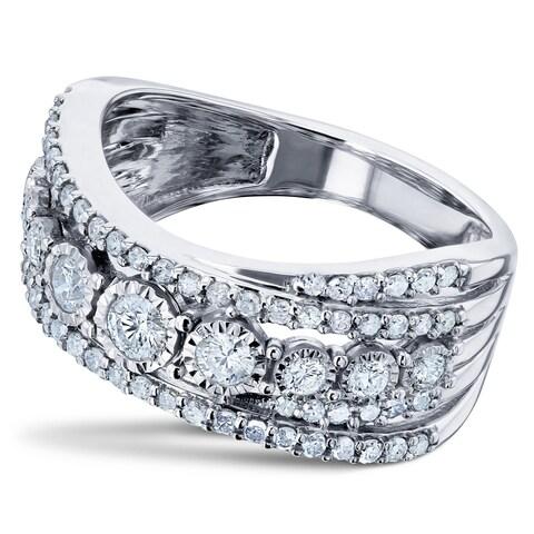 Annello by Kobelli 10k White Gold 3/4ct TDW Diamond Overlapping Rows Illusion-set Anniversary Ring