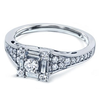 Annello by Kobelli 10k White Gold 1/2ct TDW Diamond Baguette Halo Engagement Ring (HI, I2)